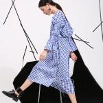 2017 Spring new Korean temperament hollow back design split personality sweet Plaid Dress wholesale 8315