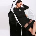 2017 hot sale long dress women fall mesh long sleeve asymmetrical stitching black dresses send spot goods 40001