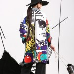 2017 new Spring spring Graffiti Splicing Cowboy Women Long-Sleeved Cardigan Long Coat Female Fashion Clothes W0145