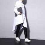 2017 spring and spring asymmetric hem chiffon shirt dress thick women long-sleeved white black big size 1050A1