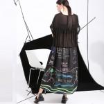 2017 summer models New graffiti print loose plus size big swing short-sleeved dress stitching bust more140cm 46791