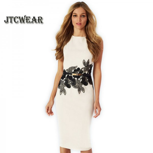 New Summer Sleeveless Floral Print Belted White/Yellow/Pink/Red/Purple Dresses Work Office Casual Party Pencil Dress 215