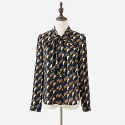 Women Blouses Autumn Elegant Geometric Print Vintage Bow Tie Shirt Women Tops Floral Clothes For Women T65228R