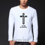 2016 Autumn mens In God We Trust/believe t shirt Christian Cross belief long sleeve homme cotton blessed jesus o-neck t-shits