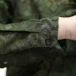 2017 Korean V Neck Transparent Chiffon Blouses Vintage Long Sleeve Retro Blouses Shirt Women Plus Size Army Green Tops Blusas