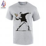 2017 Men's Banksy Flower Thrower Urban Art T shirt Fashion Summer 100% Cotton Short Sleeve T-Shirt,US Size M~XXL GT004