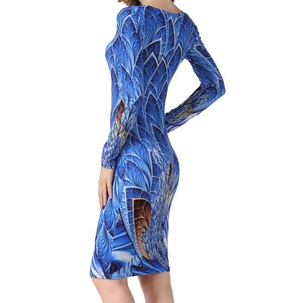 2017 NEW Fashion women Dress Sexy Mini Slim Office Dress Long sleeve Bandage O-Neck Print Summer Dress Solid Robes Vestid