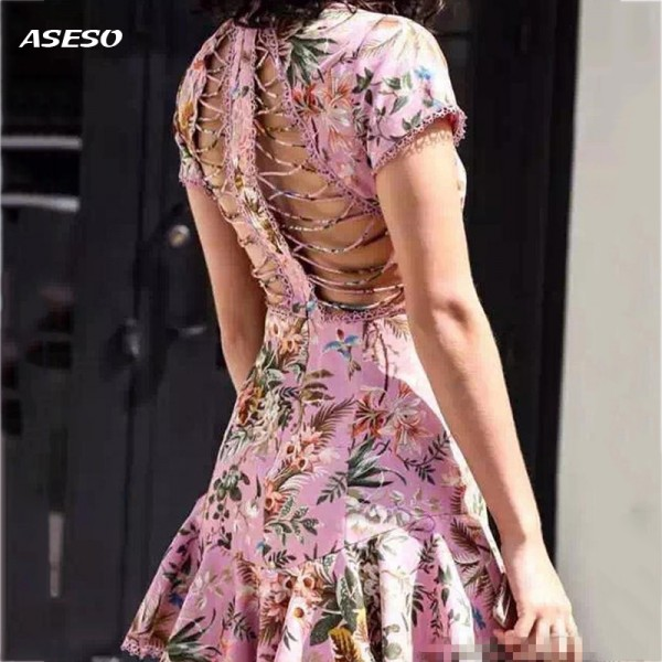 2017 Women Love sexy Lemons pink Dresses Backless dress holiday party mini Dresses Sexy backless fishtail dress