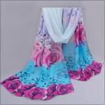 2017 Women Spring Scarf Fashion Chiffon Silk Scarf Flowers Roses Hot Sell Bandana Printing thin shawl Scarves bufandas