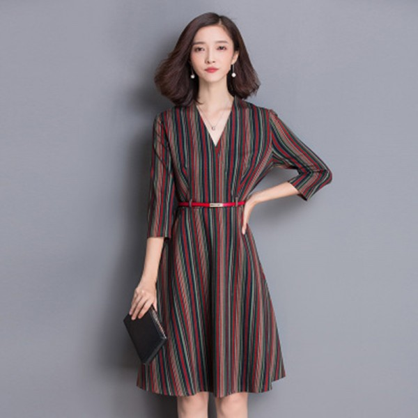 2017 spring women stripe belt elegant V neck three quarter sleeve dress  slim plus size pullovers ladies dresses