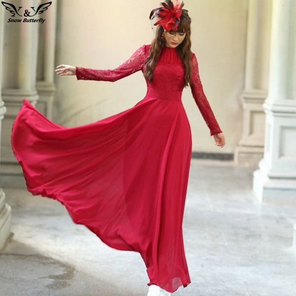 2018 high quality Spring Autumn Elegant Vintage Lace Chiffon Long Dress Slim Long Sleeve Wine Red Party Maxi Dresses Vestidos