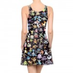 Autunm Dress Sexy Sleeveless Women Dresses Pokemon GO Pikachu Print Vestidos Woman Skater Dress Womens Clothing