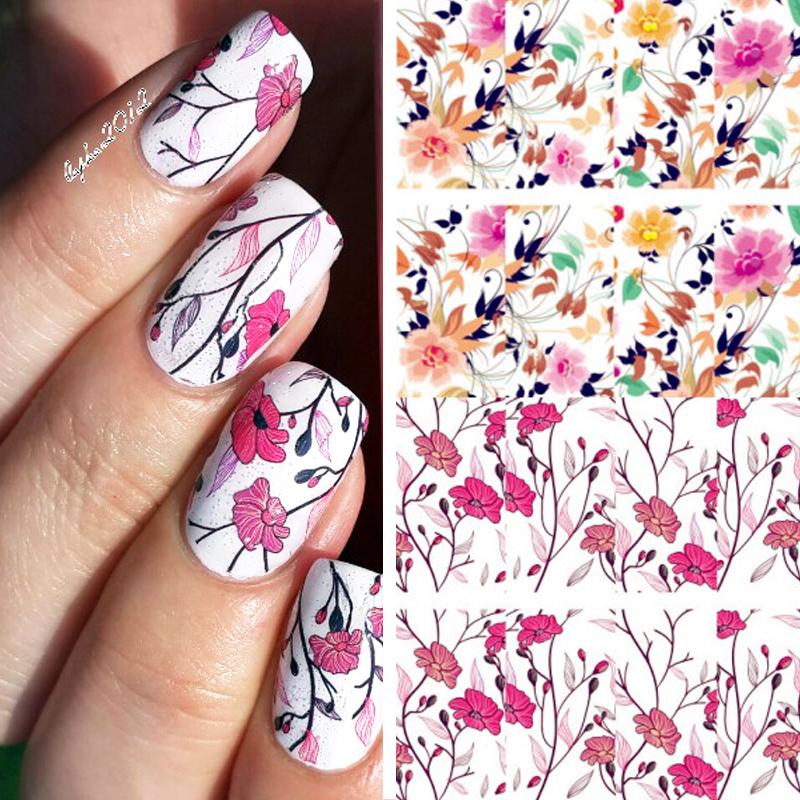 BORN PRETTY Pretty Flower Nail Art Water Decals BP-W04 Transfer Nail ...