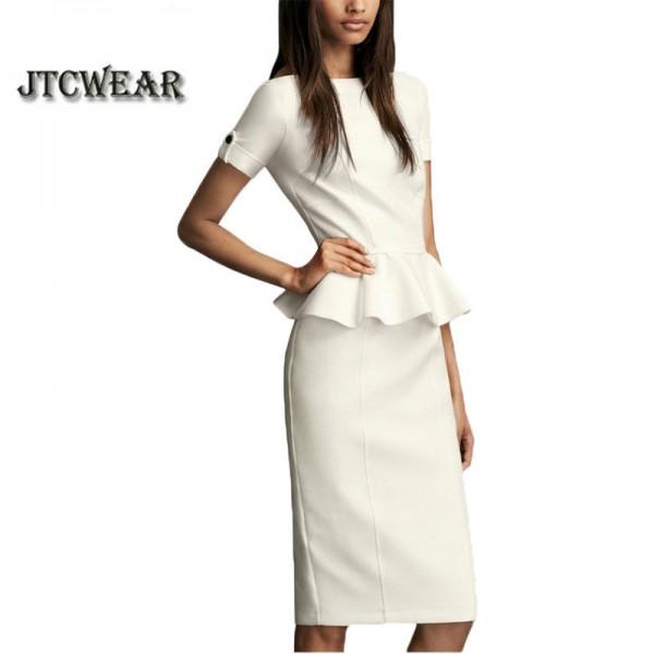 Elegant Woman Summer Peplum Frill Short Sleeve Back Zipper work wear vestidos de fiesta office dress 138