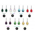 Fashion Green Main Color Drop Earrings female Silver Plated Crystal Long Earring For Women Rhinestone Drop Earrings brincos