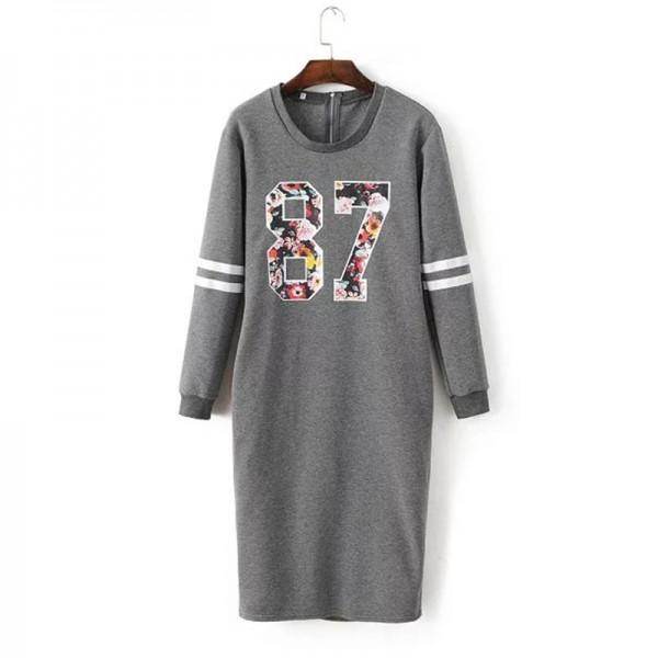 Fashion Women Sweatshirt Dresses 87 Letter Print Round Neck Long Sleeve Thick Casual Autumn Dress Long Maxi Jurk QJWM8293