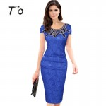 Hot Sale Elegant Lady Vintage Embroidery Hollow out Round Neck Cap Sleeve Ruched Bodycon Evening Party Pencil Dress 389