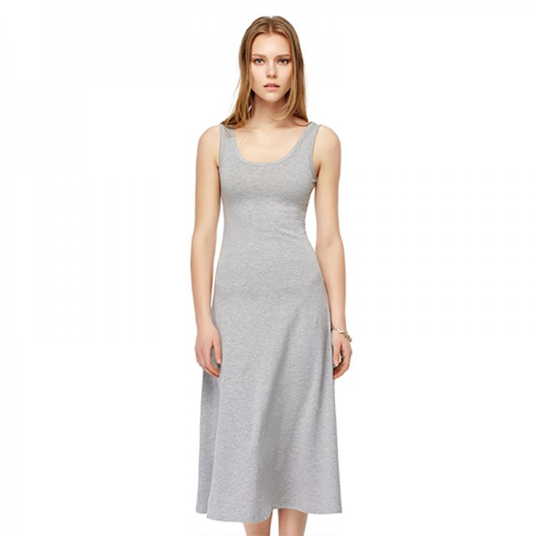 Ladies Summer New Style Grey O-Neck Dresses Women Casual T-shirt Long Dress Pure Cotton  Mid-Calf Dress