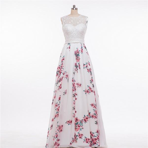 MDBRIDAL Women Print Wedding Dress Floral Patterns Lace Top A-line Gown Sleeveless Bridal Dress Custom Size