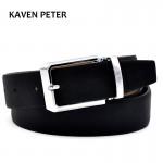 Men's Genuine Leather Belt Waist Metal Buckle Belts With Toothpick Pattern White Dress Belt And Black Belt Buckle Silver