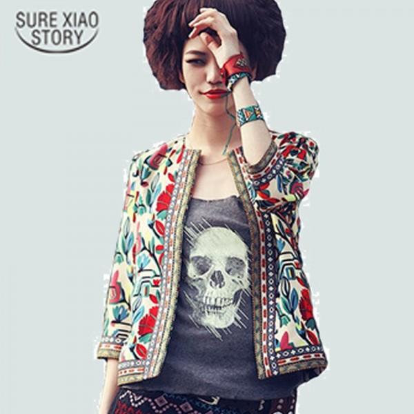 New 2016 Fashion Basic Coat Women Vintage Embroidery Print Jacket Ladies Ethnic Style 3/4 Sleeve Slim Short Jackets 03B 25