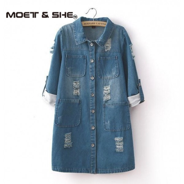 New Fashion Spring Autumn women long sleeve Roll Up jeans Coat female casual Ripped long denim Jacket outerwear 5XL T52920