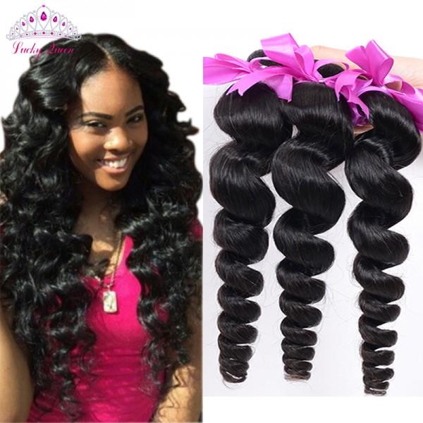 Peruvian Virgin Hair Loose Wave 4 Bundles Loose Wave Curly Weave Human Hair Bundles Loose Curly Virgin Hair 4PCS