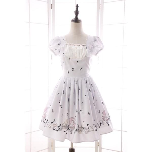 Summer New Mori Girl Dress Sweet Musical Note Printed Short Puff Sleeve Dress for Women