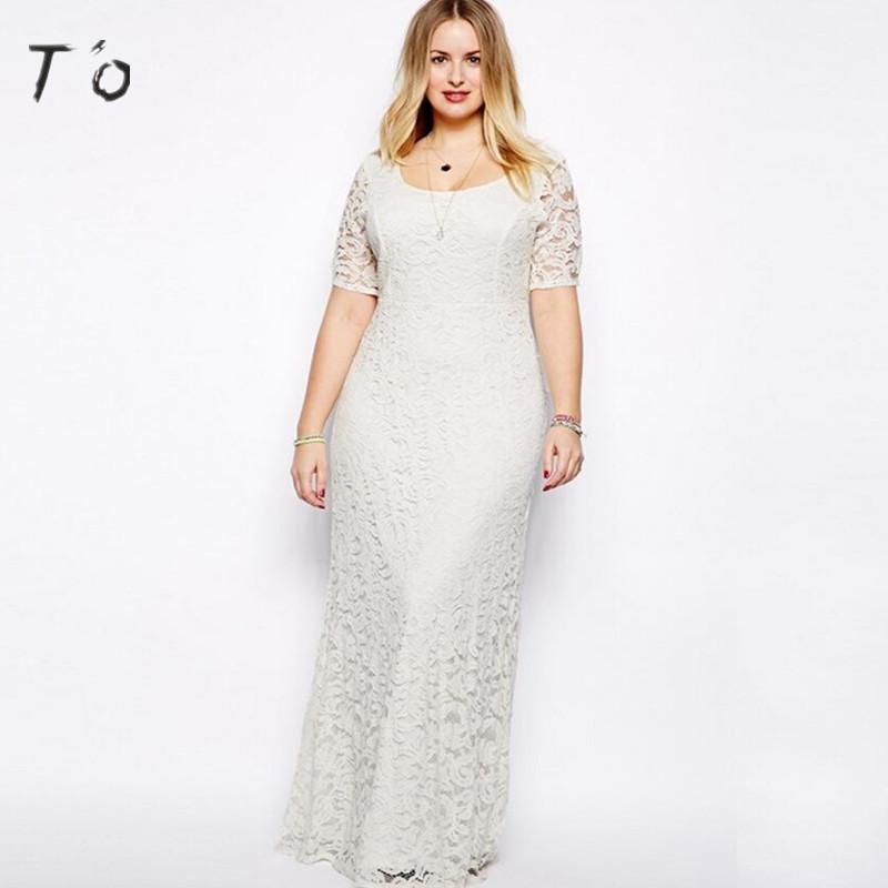 To 5xl 6xl 7xl 8xl 9xl Plus Size Dress Short Sleeve Lace Soft High