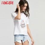 Tangada Fashion Women Summer Icecream Printed White T shirt Short Sleeve Cozy T-Shirts top tees Girl t shirt 90's AI2