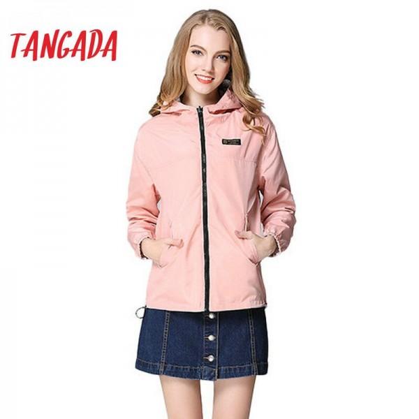 Tangada Spring Fashion Women Windbreaker Basic Coats Pink Bomber Jacket Pocket Zipper hooded print outwear Woman XL Plus BOG13