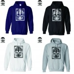 Top Quality Cotton blend skull print men sweatshirt casual cool fashion mens hooides and sweatshirts with hat H01