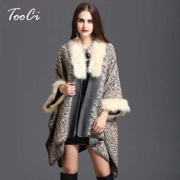 Winter Women Sweater Cardigan Female   High Quality  Faux Fox Fur Collar Poncho Cape Wool Shawl Cape 3 Colour