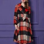 Women Elegant Plaid Wool Coat Fashion Winter Jacket Loose Casual Long Grid Woolen Overcoat Plus Size