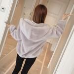 Women Faux Fur Coat Jacket  Fashion Warm Coat Long Hooded Jacket Long Sleeved outwear