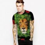 Women Men Punk Style T Shirt Casual Tee Tops Tiger Head & Hemp Leaf Digital Printed Short Sleeve Female T-shirt  Fashion Shirt