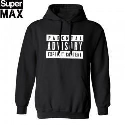 cotton blend mens sweatshirt casual Parental Advisory Explicit Content streetwear men fleece hoodies with hat H01