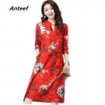 fashion cotton linen vintage print  women casual loose long autumn spring dress vestidos femininos party 2018 dresses