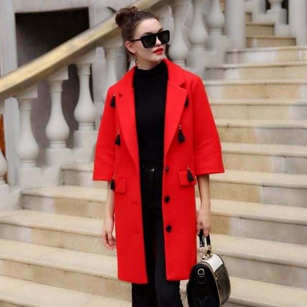 manteau femme Winter Coat Women Warm Wool Coat Long Women's Cashmere Coat  Fashion Jacket Outwear  flare sleeve manteau 66135A