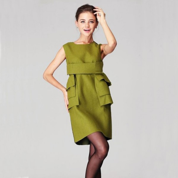 new 2017 winter 100% High-grade Green / Black style sleeveless sophisticated women wool dress