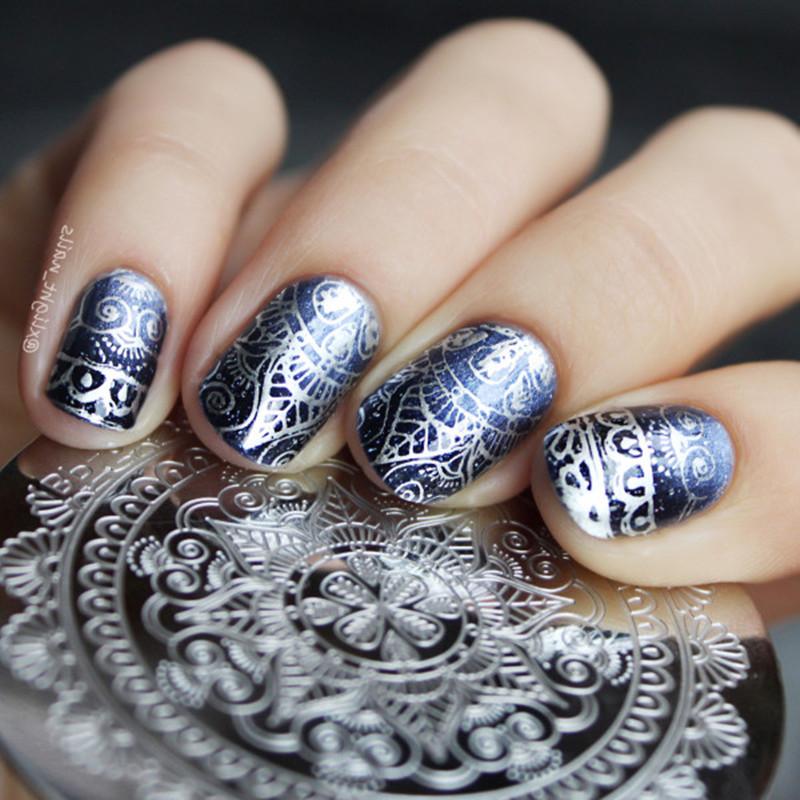 1 Pc Born Pretty Round 55cm Nail Art Stamp Template Arabesque Full