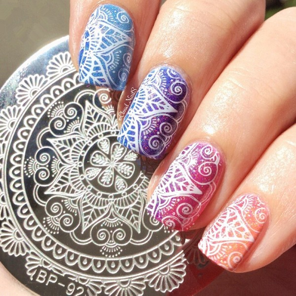 1 Pc Born Pretty Round 55cm Nail Art Stamp Template Arabesque Full