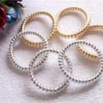 10 Pcs New Arrival Gold/Silver Color Elastic Rubber Telephone Wire Hair Bands Ponytail Holder Hair Accessories
