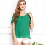 10 color S-XXXL big Size Summer Clothes For Women 2018 Fashion Casual Sequin O Neck Short Sleeve Chiffon Blouses Ruffles W00211