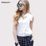 100% Cotton Sleeveless Women Blouse Summer Style Shirt Women White Blouse Female Top Ladies Office Shirts For Women