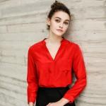 100% REAL SILK Simple Solid blouse Women long sleeve Single pocket CHIFFON SILK Blusas femininas OFFICE Lady SHIRT 2017