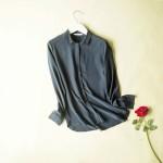 100% REAL SILK Simple blouse Women long sleeve CHIFFON SILK Blusas femininas OFFICE Lady loose SHIRT 2016 NEW