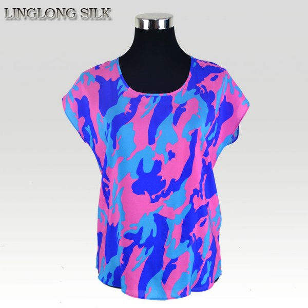 100% Silk Camouflage Shirt Mulberry Silk Crepe De Chine New Fashion Summer Style Desigual Women Tops Punk Shirt
