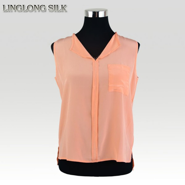 100% Silk Crepe Shirt Natural Silk Sleeveless Women Shirts Free Size Summer Style Breathable Soft Fabric