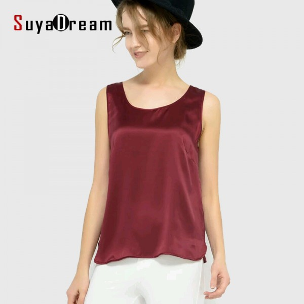 100% pure REAL SILK  women tank tops basic Solid tank Sleeveless Top femininas Satin shirt Black White 2016 Summer Spring